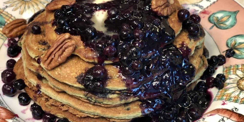 Blueberry-Pecan Chickpea Flour Vegan Pancakes